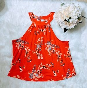 Maurices Coral Floral Print Swing Crop Sz L